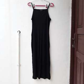 Topshop Long Black Spaghetti Strap Dress