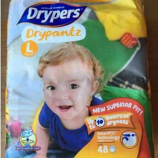 BN Unopened Drypers Drypantz L (9-14KG) 48S