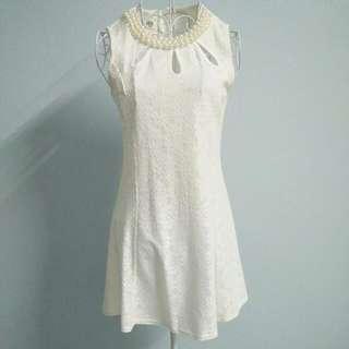 White Jacquard Dress #Fesyen50