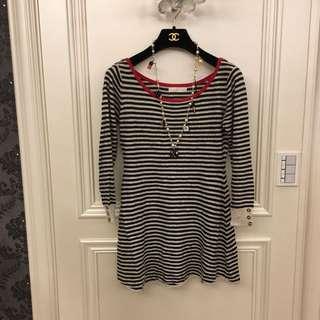 🚚 韓版條紋毛料洋裝
