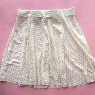 White skater skirt with staples