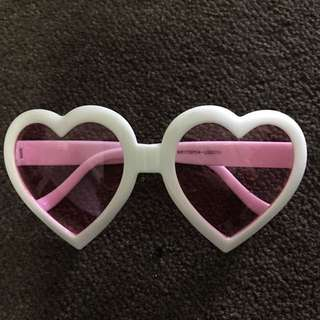 White Pink Tinted Heart Shaped Sunglasses