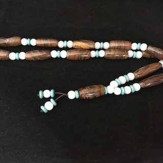 天珠配綠松石項鍊珠鍊 (高能量)