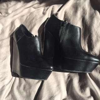 ALDO Full Leather Wedge Booties