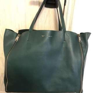 Celine double zipper deep green colour tote bag