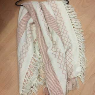 Free people pink and white scarf/poncho