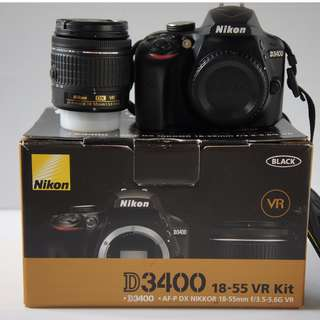 [USED] Nikon D3400 24.2MP DSLR Camera with 18-55mm Lens Kit, Super Low Shutter Count 307 Only, Condition Like NEW