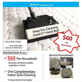 Deep Dry Cleaning for Used/2nd hand Mattress/Bed