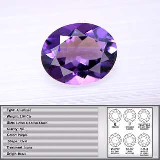 2.94 CT Natural Sparkling Amethyst
