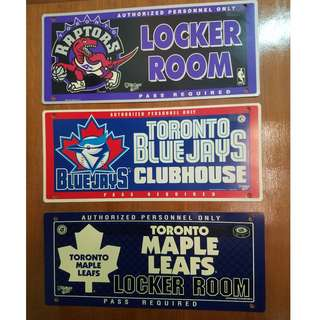 Toronto Maple Leafs, Raptors, Blue Jays Club House Lock Room Signage - All Item Total Price