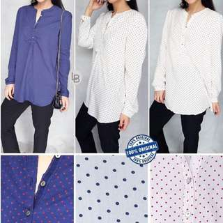ESPRIT Dotted Series Half Button Cotton Blouse
