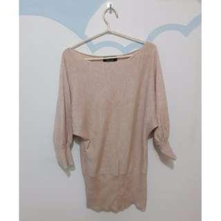 粉色正韓鴿子牌 45%羊毛 連身針織洋裝