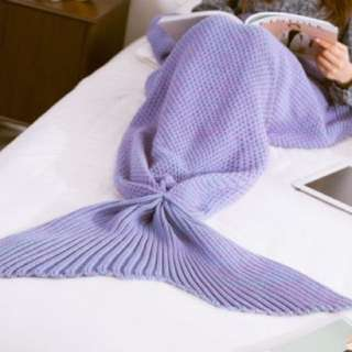 Mermaid Blanket (knitted) (Purple)