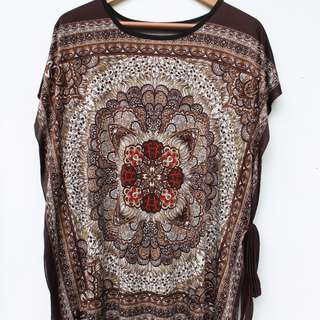 Brown Printed Long Top W/ Ribbon Details