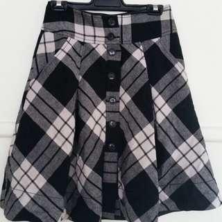 grey plaid wool blend circle skirt