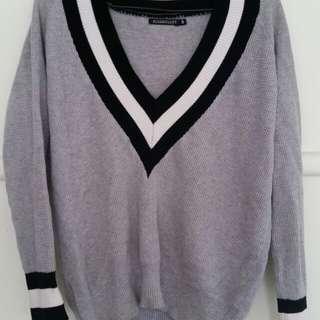 rosebullet v neck grey sweater