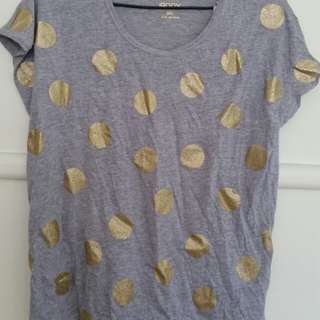 cotton grey gold polka dot shirt