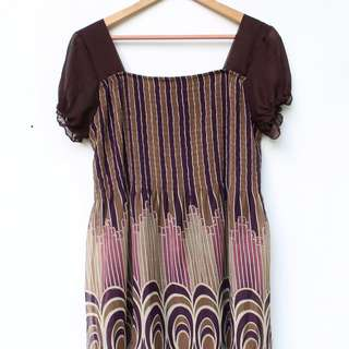 Brown W/ Purple and Pink Details Dress