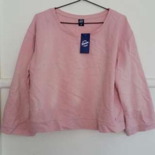 pale pink large crop top sweater