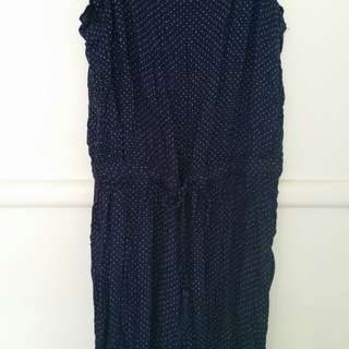 navy polka dot strappy jumpsuit