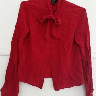 red silk pussy bow blouse