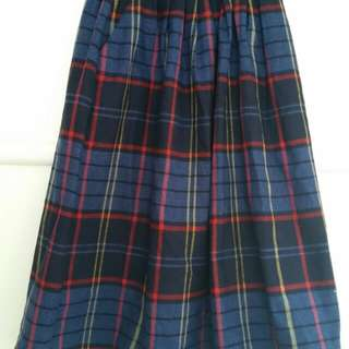 navy plaid tartan wool midi skirt