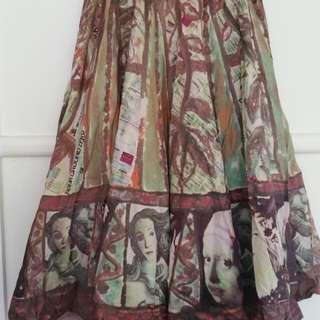 famous art print maxi skirt
