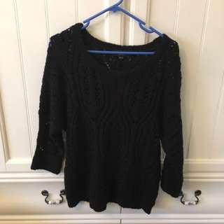 JUST JEANS Black Wool Knitter Jumper