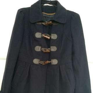 navy wool blend duffle coat