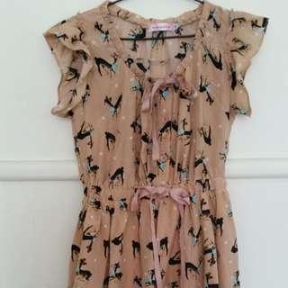 pink deer print ribbon frilly dress