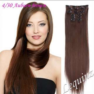 7pc Hair Extensions  Straight  Auburn Light Brown
