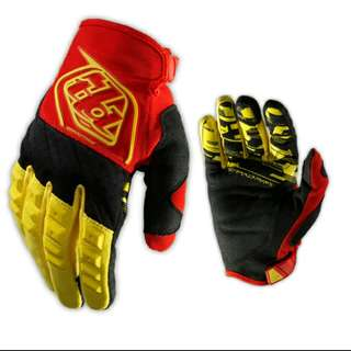 🆕! Troy Lee Designs Racing 🏁 Black /Red & Yellow Full Finger Protective Gloves For Mountain bike /motocross /motorcycle