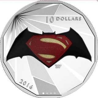 DC Comics Batman vs Superman Dawn of Justice Pure 999 Silver Coin For $98.