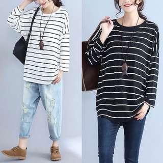 Plus Size Korean fashion large size women's striped T shirt shirt