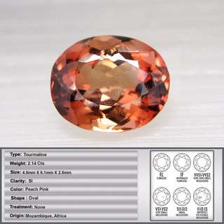 2.14 CT Natural Peach Pink African Tourmaline