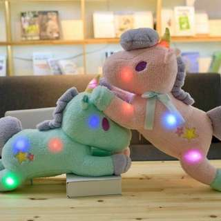 #1212YES Little Twin Stars Unicorn Light Up Plush Pillow