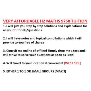 Very affordable H2 maths tuition