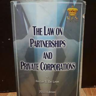 The Law on Partnerships and Corporations by De Leon