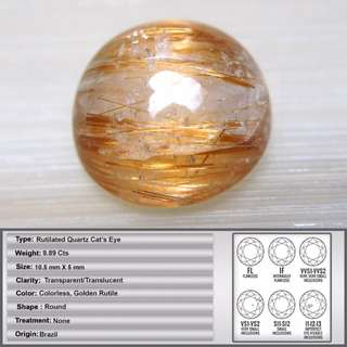 9.89 CT Natural Rutilated quartz Cat's Eye