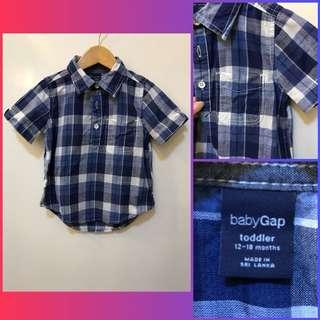 Baby Gap Blue Checkered Polo Shirt