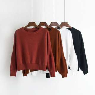 Short Puffy Sleeve Sweater