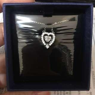 Swarovski dancing crystal silver heart necklace