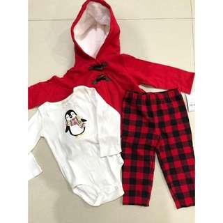 CARTERS  3-Piece Plaid Penguin Little Jacket Set (ORIGINAL)