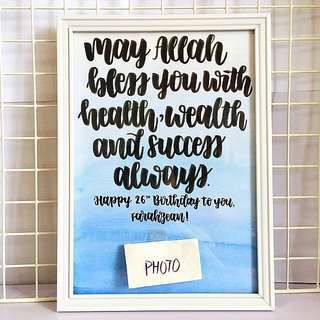 Customisable Frame hang Personalised colleagues colleague customised calligraphy Friend friend's friends birthday present presents gift gifts friendship best Husband Wife quote affordable cheap Girlfriend baby Boyfriend party Personalised wedding