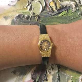 Seiko 精工 古董 (豆零錶)手動 上鏈  包金皮帶  女裝錶