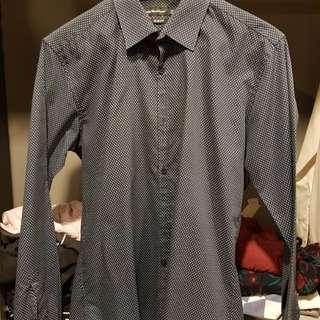 Men Navy Patterned Slim fit Shirt