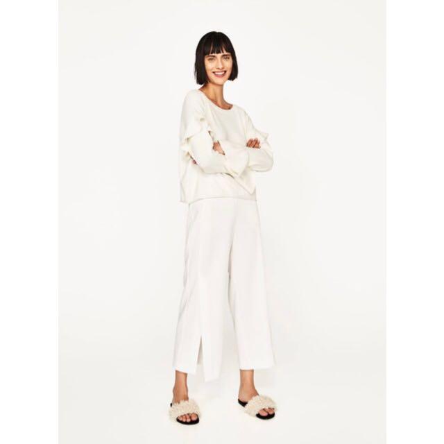 美國購回 ZARA荷葉寬袖 白色質感針織寬鬆短版上衣毛衣