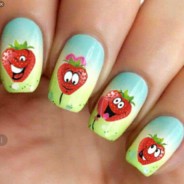 2 Sheets Water Transfer Nail Art Stickers Funny Strawberry Design ...