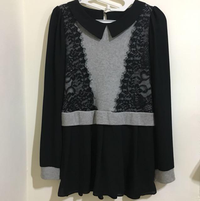 ➿蕾絲拼接雪紡長袖針織黑灰毛衣