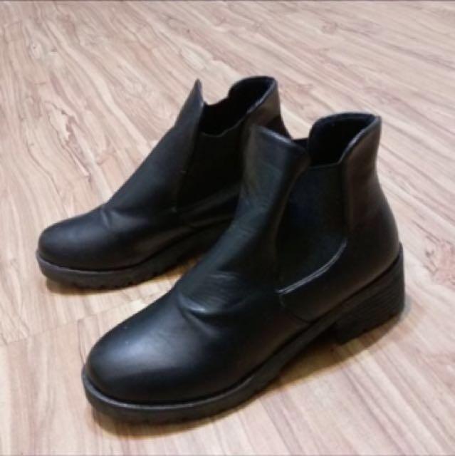 韓版粗跟短靴